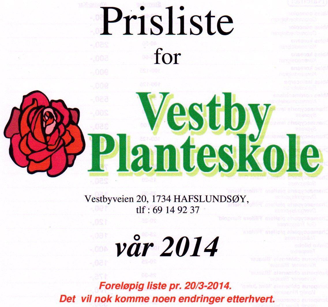 Prisliste for vår 2014